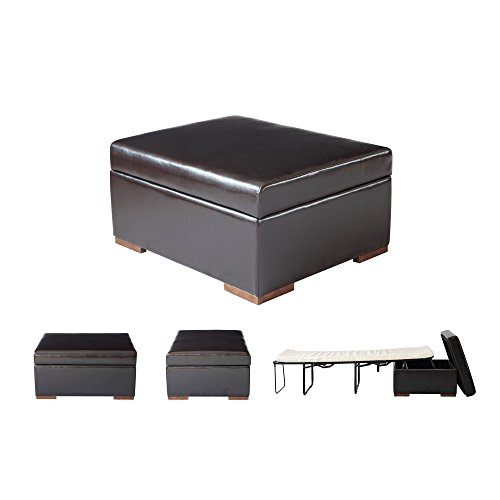SpaceMaster iBed Convertible Ottoman with Fold Out Hideaway Guest Bed, Brown