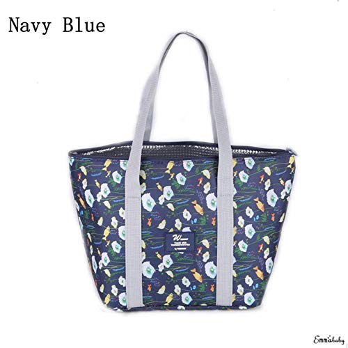 2018 Brand New Kids Dames PVC Aluminium Grote Waterdichte Bowstring Lunch Bento Bag Container Portable, Navy blauw