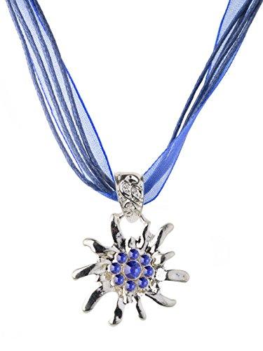 Trachtenkette Edelweiss Satin Band glänzender Edelweiss Anhänger mit Strasssteinen besetzt Trachtenschmuck für Dirndl und Lederhose (Blau)