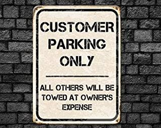 Tamengi Custom Parking Road Sign, Customer Parking Only, Auto Club Metal Outdoor Wall Art, Garage Decor, Business Partner Gift, 8 X 12 Inches Wall Art Decor
