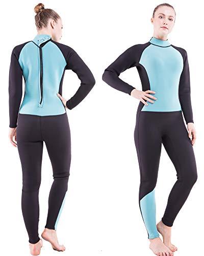 DEHAI Men Women's Full Wetsuits Thermal Suit Sleeves 3mm Neoprene Youth Adult's Diving Swimming Snorkeling Surfing Scuba Jumpsuit Warm Swimwear(Women Fullsuit/Lake Blue,XL)