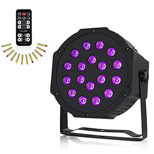 Anpro UV Schwarzlicht, 54W 18LED DMX512 UV LED Bühnenlicht mit 7 Beleuchtung Modi, DJ Atmosphäre Licht Discokugel Party Bühnenbeleuchtung für Party, Hochzeit Disco