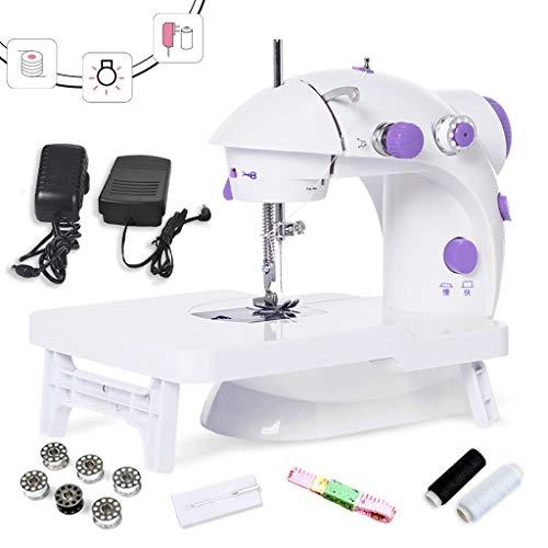 MTXD Naaimachine beginners, mini-naaimachine met uittrektafel draagbare verstelbare 2-versnellingen-reparatiemachine met voetpedaal wit + paars -1.9