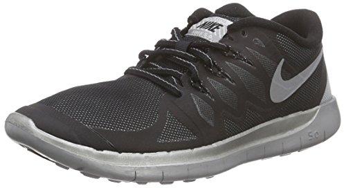 Nike Unisex-Kinder Free 5.0 Flash (GS) Laufschuhe, Schwarz (Black/Reflect Silver-Wolf Grey 001), 40 EU