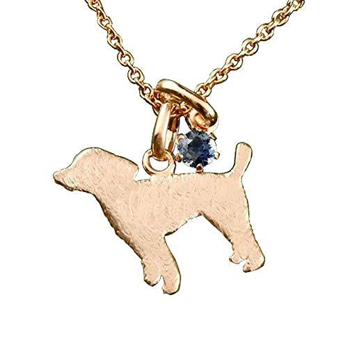 [アトラス] Atrus ネックレス メンズ 10金 ピンクゴールドk10 ブルーサファイア 犬 トイプードル ペンダント トップ 9月誕生石 青い宝石 チェーン(sv925ピンクメッキ)
