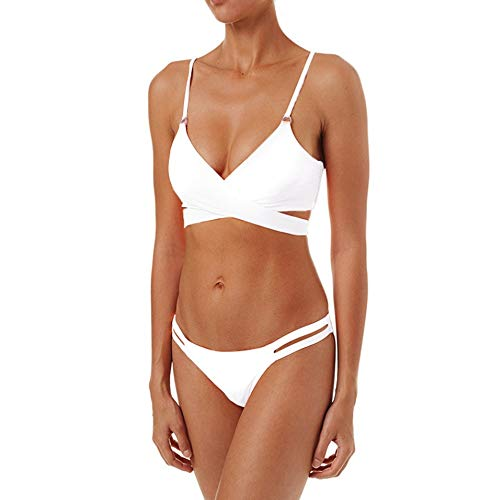 Travel Fashion Vakantie Swimsuit Sexy Beauty Terug Bikini effen kleur Riemen Bikini Split Swimsuit (Color : White, Size : M)
