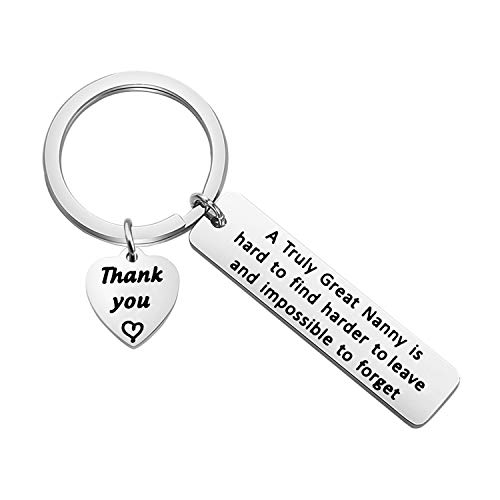 TGBJE Nanny Gift A Truly Great Nanny is Hard to Find Keychain Nanny Appreciation Gift Child Care Gift Babysitter Gift Grandparent Gift (Nanny keychian)