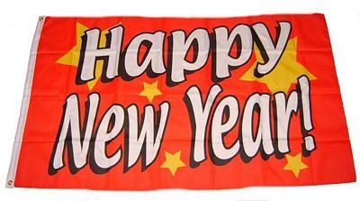Flagge Fahne Happy New Year 90 x 150 cm FLAGGENMAE®