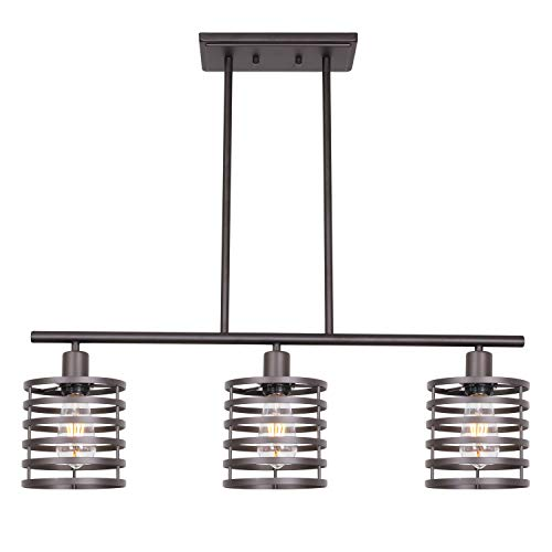 VINLUZ 3 Lights Linear Chandeliers Oil Rubbed Bronze Modern Table Cage Light Rustic Kitchen Island Pendant Lighting Industrial Farmhouse Ceiling Light Fixtures Hanging Dining Room Living Room Hallway