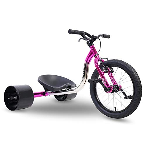 Sullivan 18' Jnr Big Wheel Drift Trike Pink/Chrome, for Ages 7-12 Years, Awesome Sliding Fun
