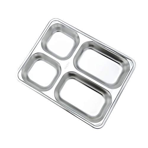 Milopon Essenstablett Speiseteller 304 Verdicken Edelstahl Kantinentablett für Camping Kinderessen Partytablett Täglichen Gebrauch