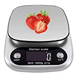 XDFEWFJH Food Scale Kitchen Scale 22lb Weight Grams and 1g/0.1oz for Cooking Baking,Weight Loss,Candle Making,Silver,Stainless Steel Platform