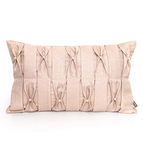 Cushion Covers Bow-Tie Pearl-Decorated Girl Bedroom Sofa Decorated Rectangular Pillowcase Pink 50X30 Core-Free