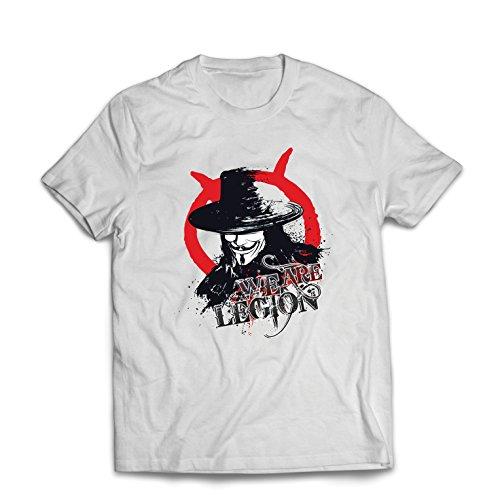 lepni.me Camisetas Hombre Somos la Legión Vendetta The Anonymous (Small Blanco Multicolor)
