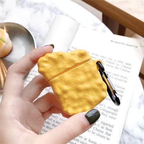 Siliconen Oortelefoon Case Schattig 3D Kip Nuggets Zoete En Zure Saus Voor Apple Nieuwe AirPods 1/2 Draadloze Bluetooth Headset Cover QWERTB (Kleur : Blauw)