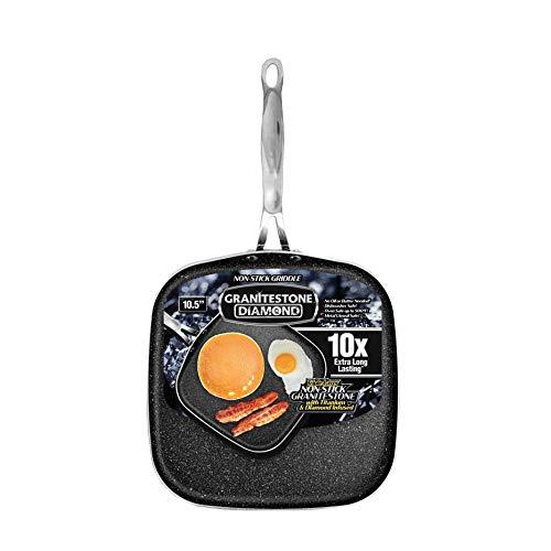 "GRANITESTONE 2593 Griddle Pan 10.25"" Nonstick Stovetop Cookware PFOA Free Oven-Safe, Dish Washwasher safe As Seen On TV"
