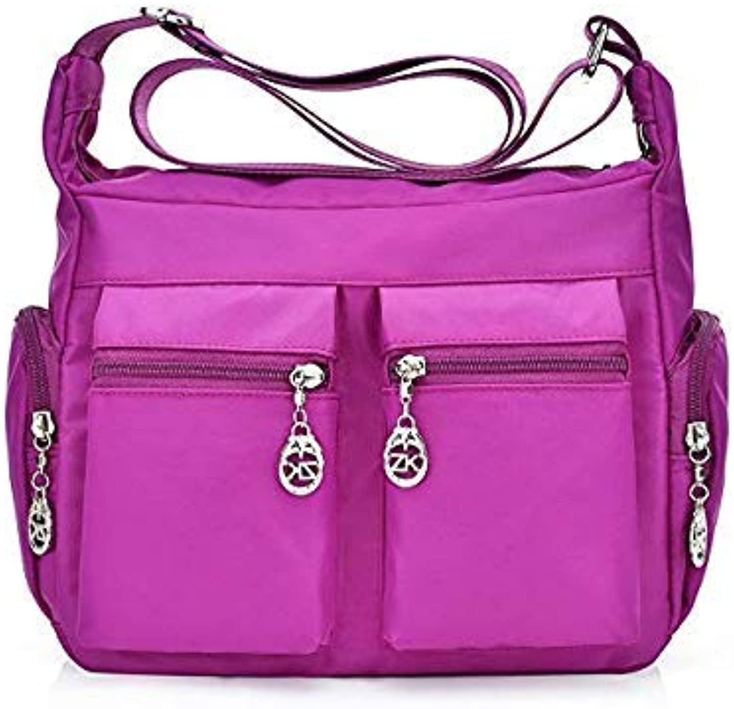 Bloomerang New Fashion Waterproof Lady Courier Bag High Quality Lady Nylon Handbag Travel Leisure Package Large Capacity Multi-Function Bag color Bright Purple