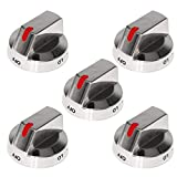 S-Union [Upgraded] Dg64-00473A Knob Dial with Reinforced Power Ring Protection Compatible with Samsung Range Oven Gas Stove Knob Replace for AP5917439, PS9606608 (5 Pack)