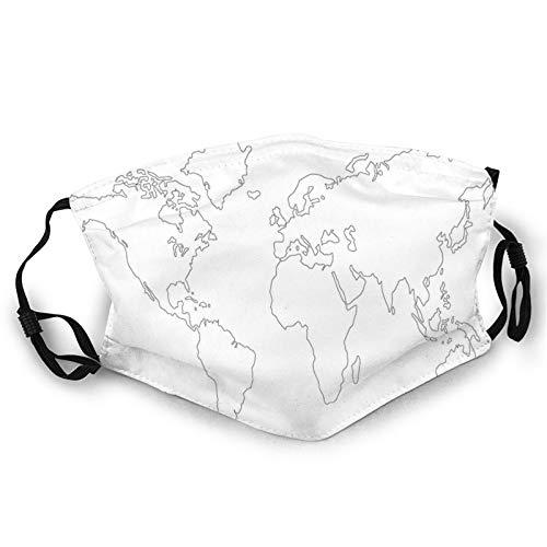 Komfortable, winddichte Gesichtsabdeckung, schlichtes Design, Weltkarte mit dünner schwarzer Linie, abstrakte Kontinente, bedruckte Gesichtsdekorationen für Unisex