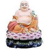 ZHAOJ Estatua De Buda Feliz Riendo, Buda De Vientre Grande De Cerámica Pintado A Mano, Figura De Buda De La Suerte De La Nueva Era De Asia Oriental Coleccionable,Naranja