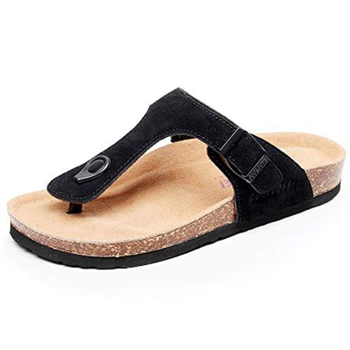 Chanclas Moda Hombre Mujer Zuecos Zapatos Sandalias de Corcho Mulas de Verano Chanclas de Cuero de Playa Zapatillas de baño Antideslizantes (Negro, Numeric_34)