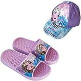 Chanclas Frozen Elsa Disney Flip-Flop para Playa o Piscina + Gorra Disney Frozen para Niñas (Lila, Numeric_24)