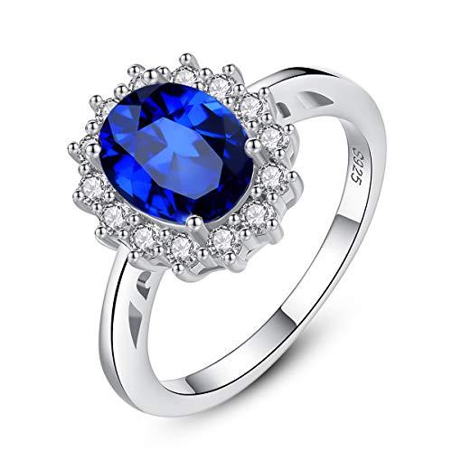 Esberry Prinzessin Diana William Kate Ring Verlobungsring damenring 925 Sterling Silber Eingelegter Königsblau aus natürlichem Samt von Kaschmir Edelstein Ring Mehrere Größenoptionen