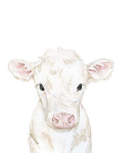 Cow Calf Watercolor Print White Long-awaited New York Mall Animal Farm