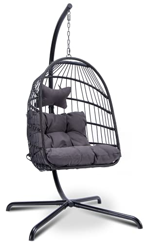 Egg Chair Aluminum Frame Swing Chair in Door Outdoor Hanging Egg Chair Patio Wicker Hanging Chair Hammock Chair with Stand and UV Resistant Cushion 350-pound Weight Capacity (Dark Grey