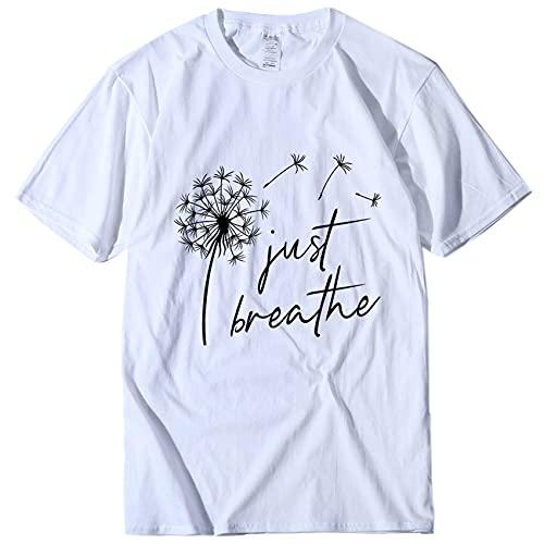 Camisetas Estampadas De Diente De LeóN Camisas De Verano para Mujer Camiseta GráFica De Manga con Cuello Redondo