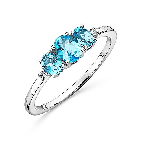 Orovi Anillo de oro blanco de 9 quilates (375) con diamante de 0,02 quilates para mujer, con 3 piedras preciosas/piedras natalicias, topacio azul y 2 diamantes brillantes, dorado., Topaz,