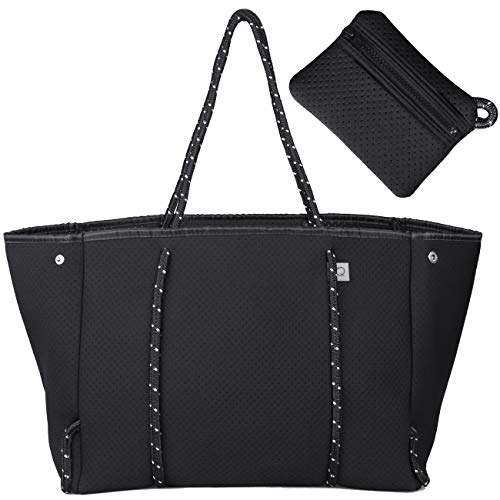 OCSTRADE Neoprene Multipurpose Beach Tote Bag Large Shoulder Bag with Inner Zipper Pocket and Movable Board Black