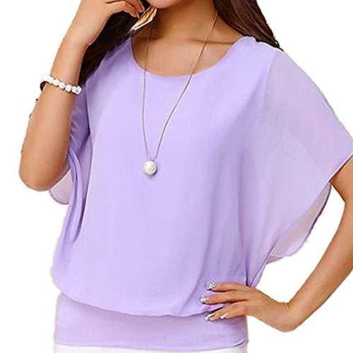 Chiffon T-Shirt für Damen/Dorical Sommer Casual Loose Fit Kurzarm Rundhals Fledermaus Batwing Shirt Elegant Top Bluse Casual Party Bluse Pullover Tees 8 Farben S-5XL Ausverkauf(Lila,Large)