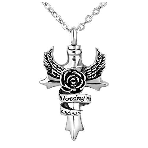 TGLS in Loving Memory Angel Wing Cross Grandma Urn Necklace for Human Ashes Memorial Keepsake Cremation Pendant Jewelry