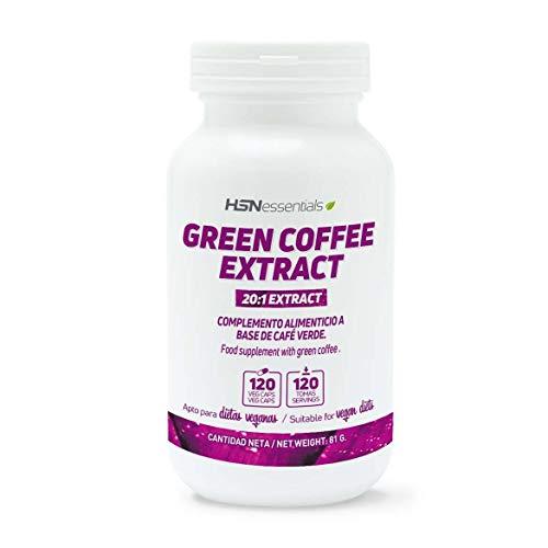 HSN Café Verde 500mg | Suministro para 2 Meses | Extracto de Coffea Arabica | con Ácido Clorogénico + Cafeína | Quemagrasas Natural | Vegano, Sin Gluten, Sin Lactosa, 120 Cápsulas Vegetales