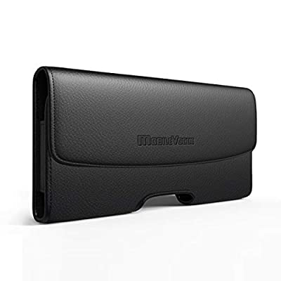 Mobile Vogue by Reiko Premium Eco-Friendly Leather Phone Pouch Belt Clip Holster Compatible with iPhone/Galaxy/Stylo/Android Phone with Protective Case on (Black-MV102, 5.8 x 3.2 x 0.7 in)