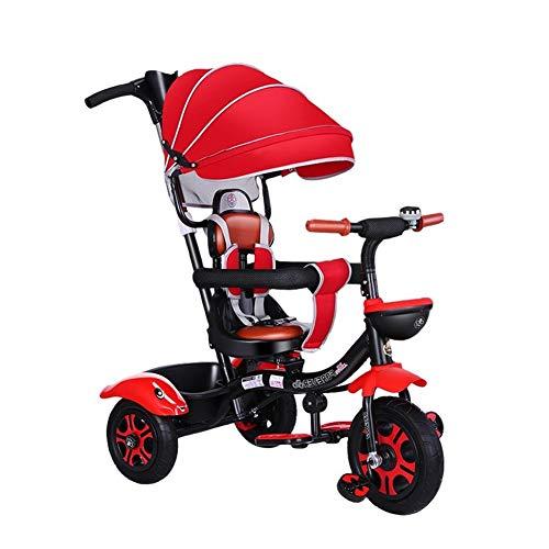 Silla de paseo para bebé, triciclo ligero, asiento giratorio con parasol para interior y exterior, portátil, regalo para niños (color: rojo)