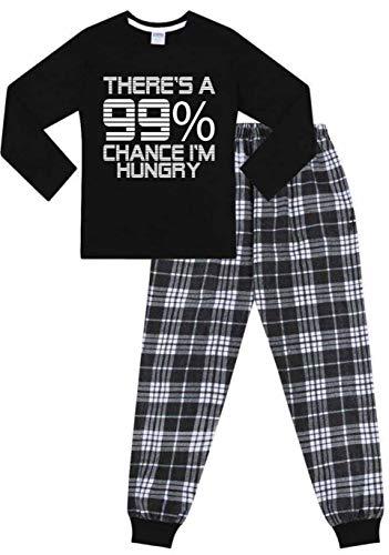 Langer Schlafanzug aus Baumwolle mit Aufschrift 'There's a 99% Chance I'm Hungry' Gr....