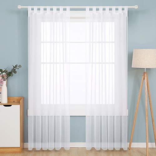 Deconovo Transparent Gardinen Wohnzimmer Voile Vorhang Schlaufenschal 245x140 cm Weiß 2er Set, Stoff, 245x140