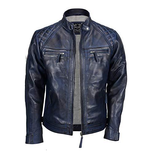 Xposed - Giacca da uomo con cerniera, in vera pelle morbida, stile motociclista, vintage, alla moda, casual, colore: nero Blu XXXL