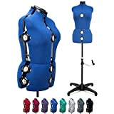 """Blue 13 Dials Female Fabric Adjustable Mannequin Dress Form for Sewing Mannequin Body Torso with Tri-Pod Stand Up to 70"""" Shoulder Height(Large)"""