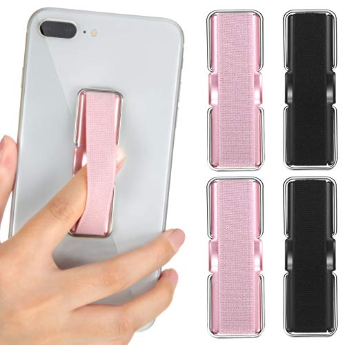 4 Pieces Finger Strap Phone Holder Elastic Finger Holder Cell Phone Grip Holder Finger Strap with Stand for Smartphones, Small Tablets (Black, Rose Gold)