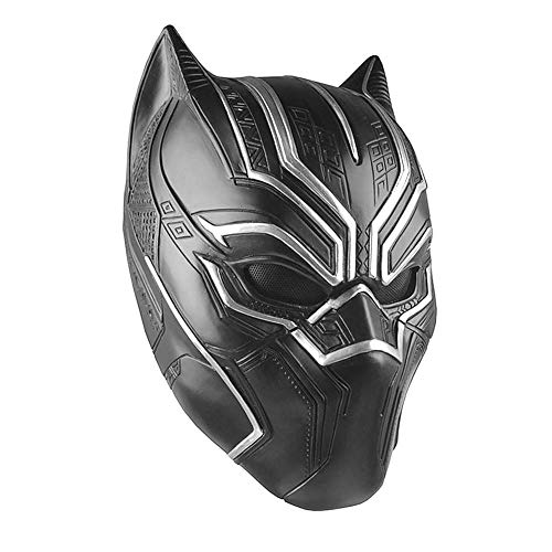 Máscara de látex Negro Pantera Cosplay Máscara Negro para Hombres Adultos