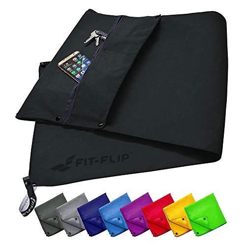 Fit-Flip Fitness Handtuch Set mit Reißverschluss Fach + Magnetclip + extra Sporthandtuch | zum Patent angemeldetes Multifunktionshandtuch, Mikrofaser Handtuch - Schwarz