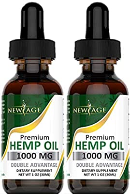 (2-Pack) Hemp Oil Extract for Pain & Stress Relief - 1000mg of Organic Hemp Extract - Grown & Made in USA - 100% Natural Hemp Drops - Helps with Sleep, Skin & Hair from New Age