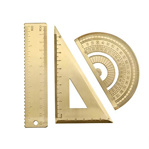 Messing mathematische Geometrie Set Retro Metall Wellenlineal und Dreiecks-Lineal Geometrie Standard Winkelmesser Dreieckskala Mathematik-Kit Student Supplies Büro Winkelmessung Zubehör