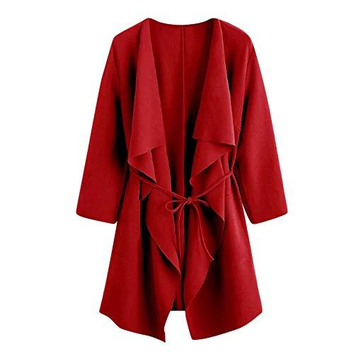 Logobeing Chaqueta de Abrigo de Antelina de Bolsillo Casual con Cuello Delantero Cascada de Mujer Outwear
