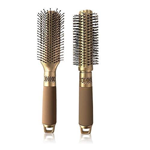 VICKYLEE 2PCS Pettine professionale per arricciare Spazzole per capelli Rettangolo + Rotondo con perni districanti in nylon Spazzola per pagaia Cuscino Pettini per capelli Spazzola per