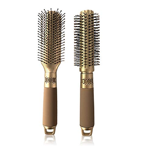 VICKYLEE 2PCS Professional Curling Comb Hair Brushes Rectangle+Round with Detangling Nylon Pins Paddle Brush Cushion Hair Combs Hair Dryer Brush for...