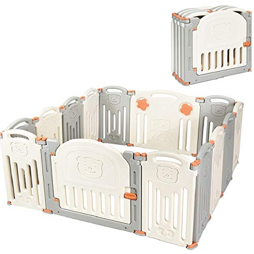Costzon Baby Playpen, 14-Panel Foldable Kids Safety Activity Center Playard w/Locking Gate, Non-Slip Rubber Bases, Adjustable Shape, Portable Design for Indoor Outdoor Use (Beige + Gray)